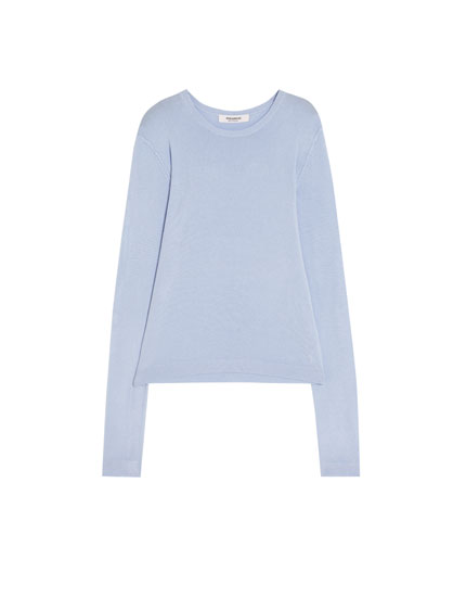 Basic sweater med rund hals
