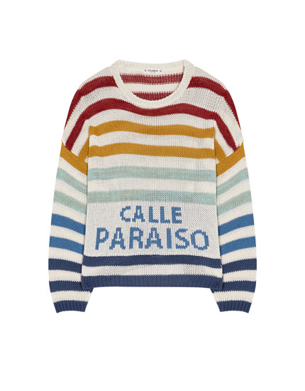 Pull rayures multicolores et inscription