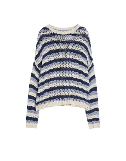 Three-tone striped sweater