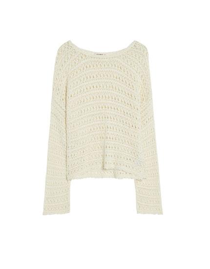 Gehäkelter Langarm-Pullover