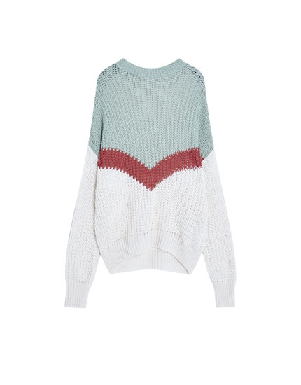 Contrasting colour block sweater