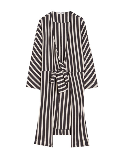 Striped ecologically grown cotton kimono with bow