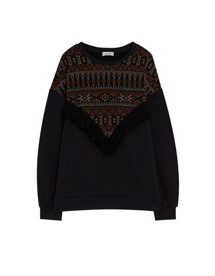 Sweatshirt with fringe trim