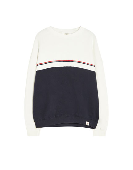 Colour block sweatshirt with stripes