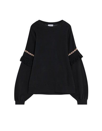 Faded sweatshirt with ethnic-inspired trims