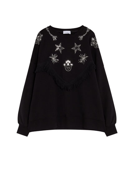 Sweatshirt with sequins and fringing