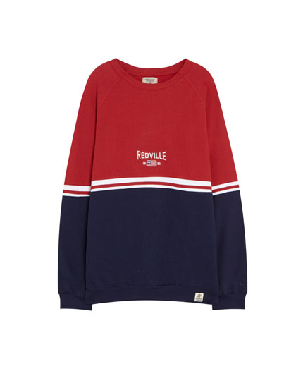 Sweatshirt with two-tone panels