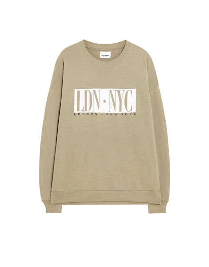 Flecked sweatshirt with a slogan
