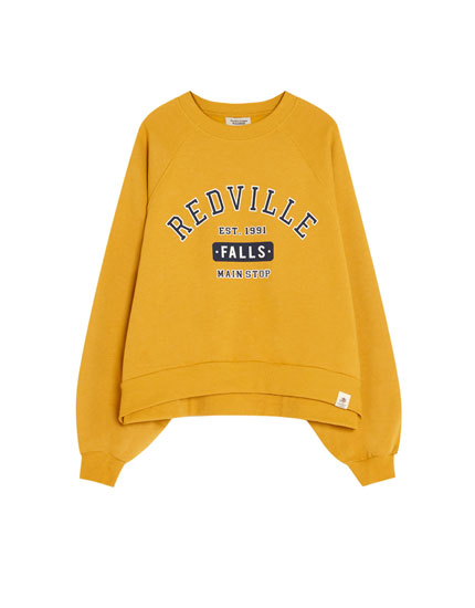 Oversized college-style sweatshirt