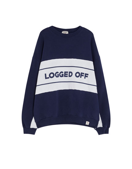 Sweatshirt with panels and slogan