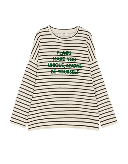 Striped sweatshirt with slogan