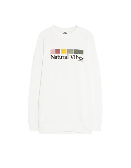 'Natural Vibes' slogan sweatshirt