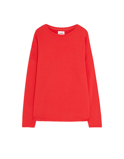 Sweatshirt básica com gola redonda
