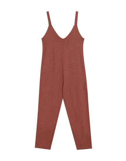 Slub knit long tank jumpsuit