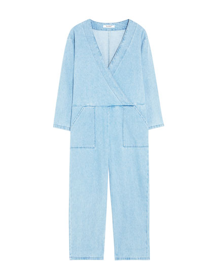 Cargo jumpsuit with crossover neckline