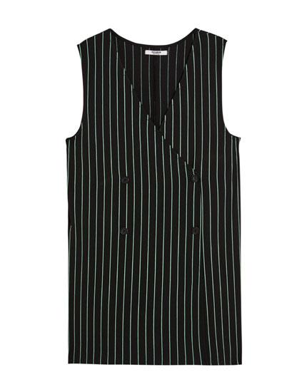 Waistcoat-style pinstriped jumpsuit