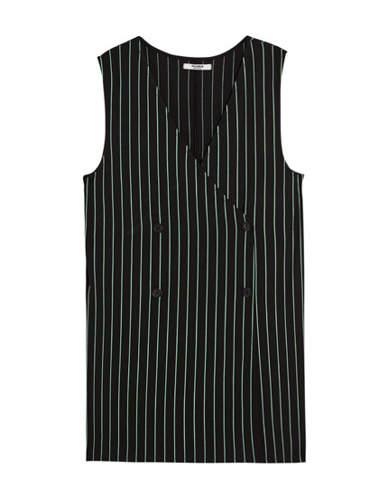 Waistcoat-style pinstriped jumpsuit