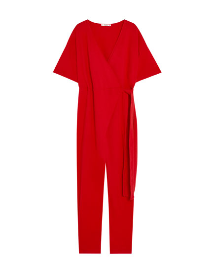 Long jumpsuit with crossover neckline