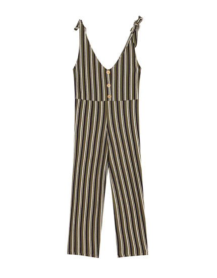 Ecologically grown cotton jumpsuit with front buttons