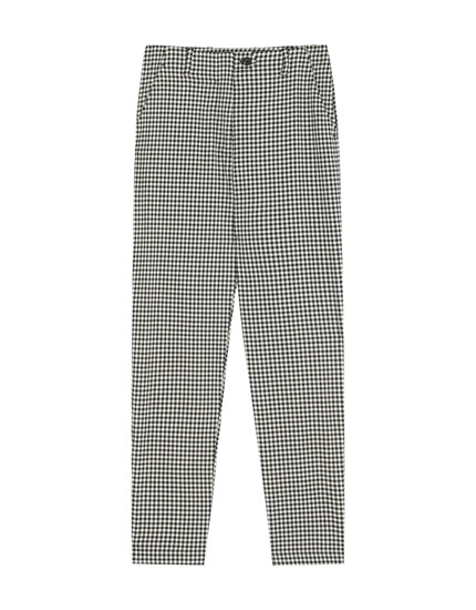 Gingham check capri trousers