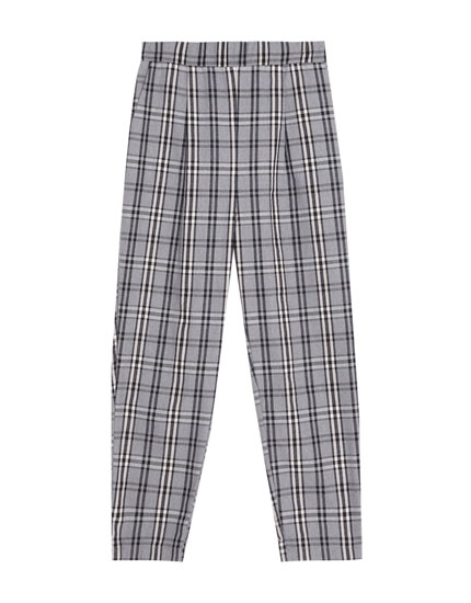 Grey checked jogging trousers