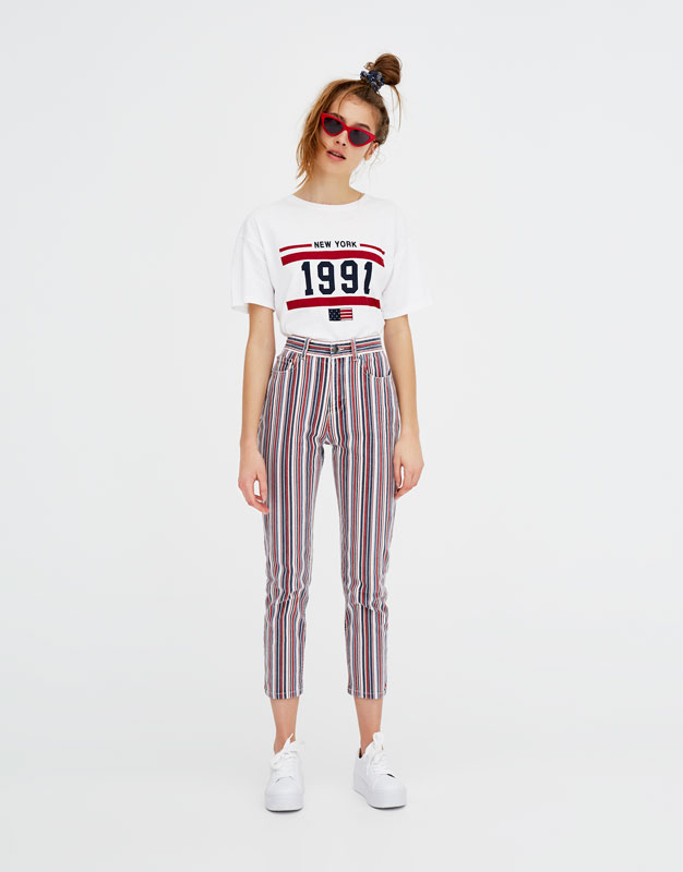 souvent Shoptagr | Pantalon Taille Haute à Rayures by Pull & Bear IF49