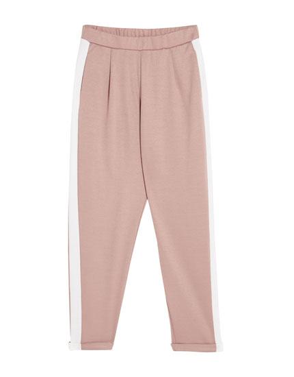 Pantaloni tailoring cu bandă laterală
