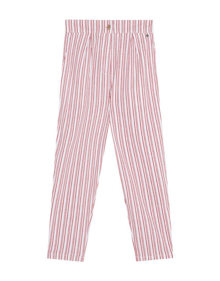 Red and white striped trousers
