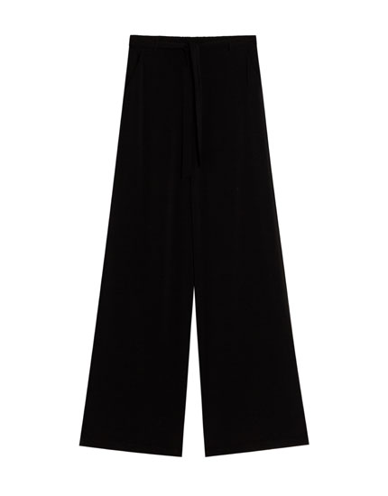 Printed palazzo trousers with belt