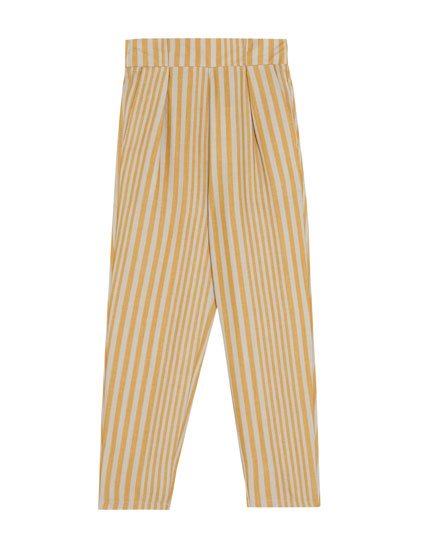 Striped trousers with darts