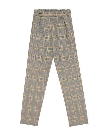 Checked pleated trousers