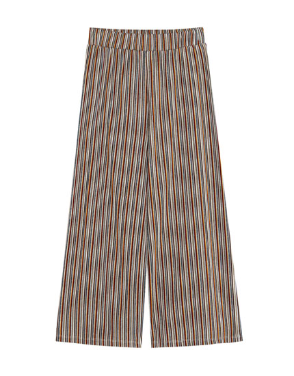 Striped boho culotte trousers