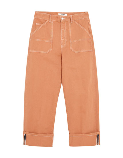Jean orange coupe carpenter