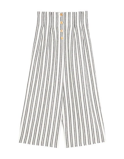 High waist striped culottes