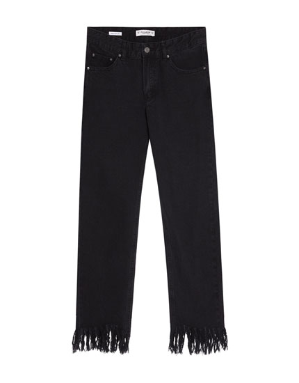 Straight-Fit-Jeans mit Rissen am Saum