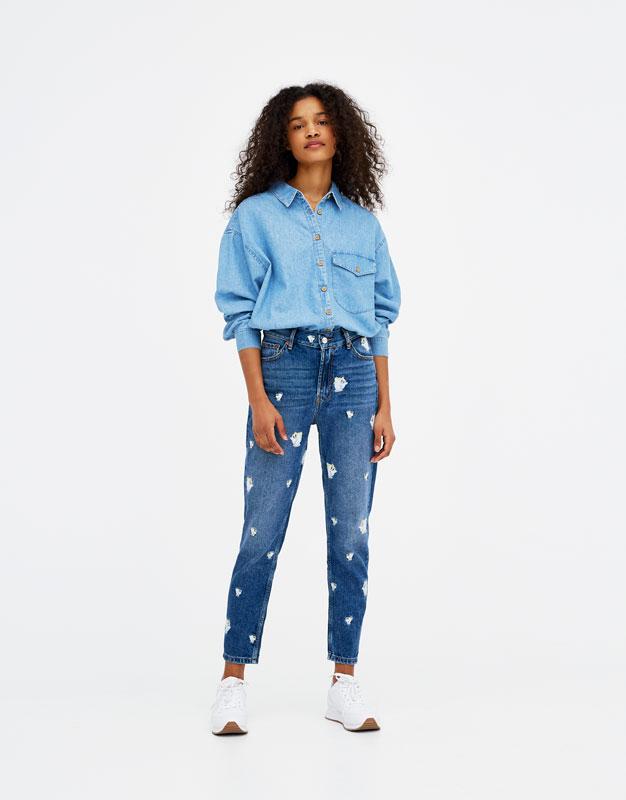 Jeans mom fit bordados
