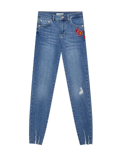 Skinny jeans with side embroidery