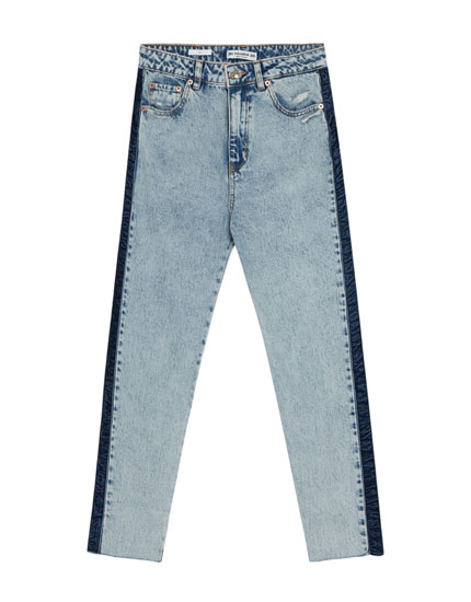 Jeans mom fit banda terciopelo