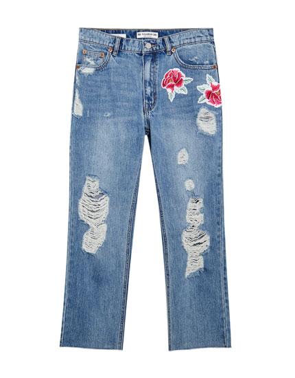 mom fit jeans mit rissen und streifen jeans kleidung. Black Bedroom Furniture Sets. Home Design Ideas