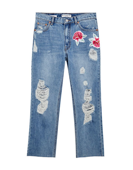 Mom jeans with rose patches