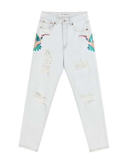 Embroidered mom fit jeans
