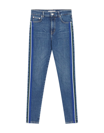 Jeans skinny fit banda lateral