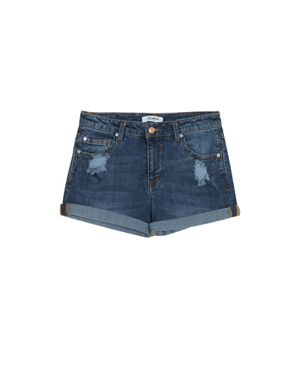 Short denim tiro medio