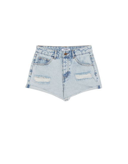 Mom fit ripped denim shorts