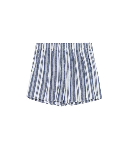 Striped high waist shorts