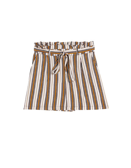 Striped paperbag Bermuda shorts