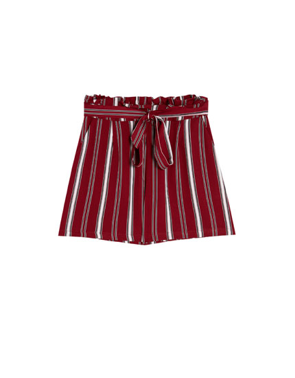 Paperbag Bermuda shorts with belt