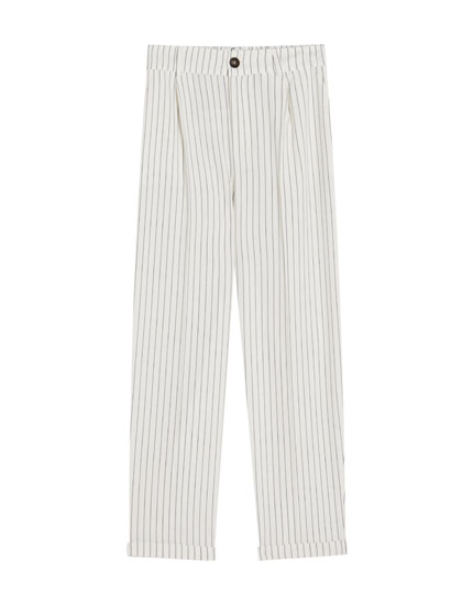 Tailored black pinstripe trousers
