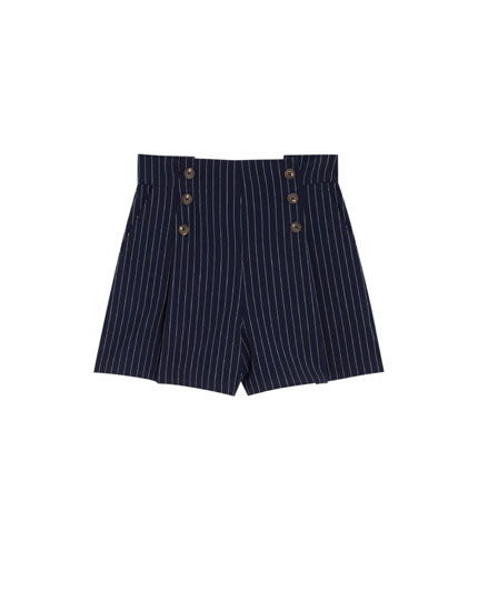 Navy Bermuda shorts with front buttons