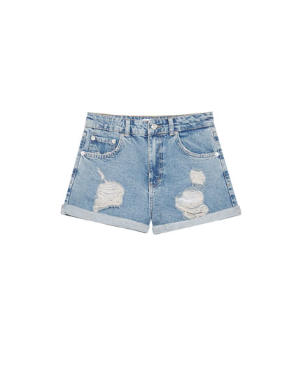 Ripped denim mom shorts